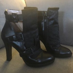 DKNY New York  Leather & Pony Hair  ankle boots.